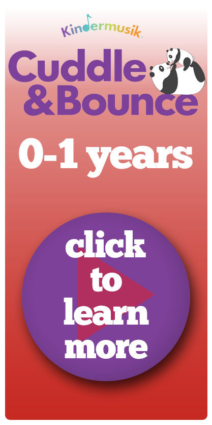 Image saying Kindermusik Cuddle & Bounce classes 0 - 1 years with a purple button with a play symbol asking people to click to learn more