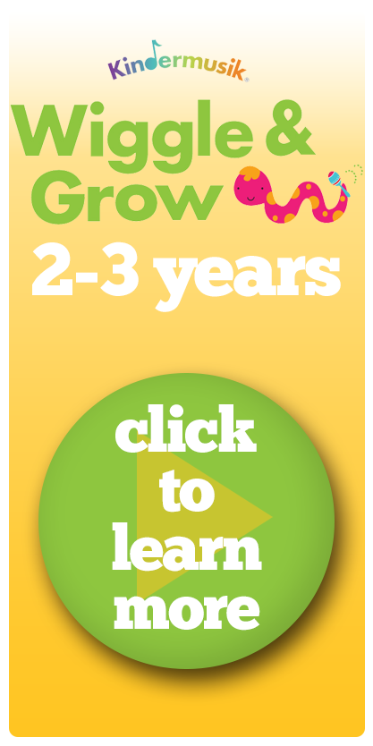 Image saying Kindermusik Wiggle & Grow classes 2 - 3 years with a green button with a play symbol asking people to click to learn more